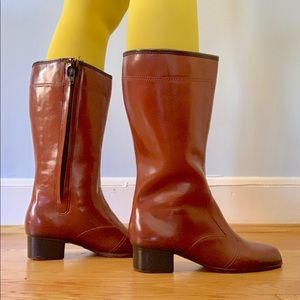Vintage 70s tall brown waterproof boots 8